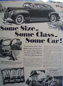 Plymouth Some Size Some Car Ad 1940