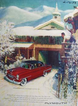 Plymouth And Ski Lodge Ad 1953