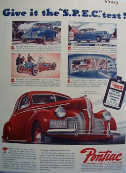 Pontiac Give It The S P E C Test Ad 1940