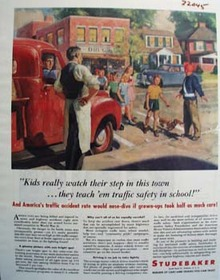 Studebaker Kids Watch Their Step Ad 1946