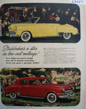 Studebaker Star In Low Cost Mileage Ad 1949