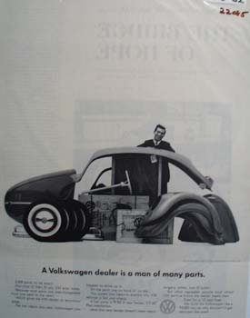 Volkswagen Dealer Man of Many Parts Ad 1962