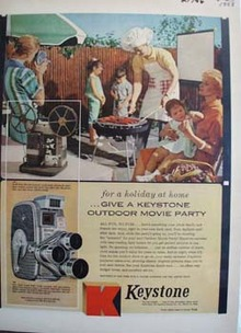 Keystone Camera Outdoor Movie Party Ad 1958