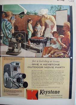 Keystone Camera Outdoor Movie Party Ad 1958