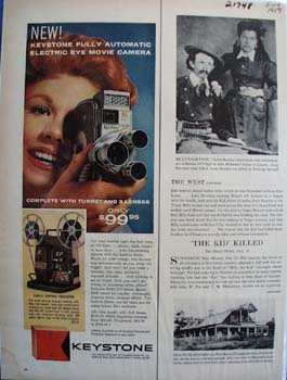 Keystone Camera Electric Eye Movie Camera Ad 1959