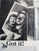 Polaroid Land Camera Girl With Clown Ad 1959