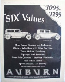 Auburn Automobile Six Values Ad 1927