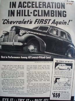 Chevrolet In Acceleration Ad 1940