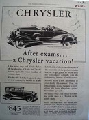 Chrysler After Exams A Chrysler Vacation Ad 1930