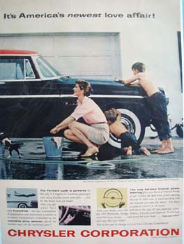 Chrysler Family Washing Car Ad 1955