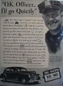 De Soto OK  Officer I ll Go Quietly Ad 1940