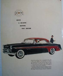 De Soto Fireflite Black With Red Two Door Ad 1955