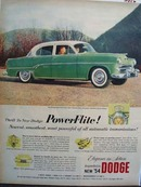 Dodge Couple Driving Berkshire Green Car 1954
