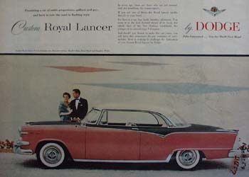 Dodge Custom Royal Lancer in Tri Color Ad 1954