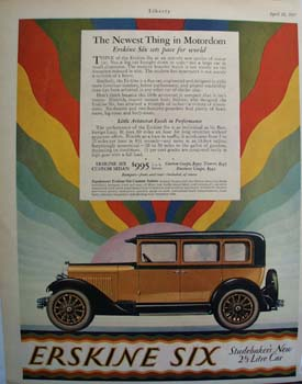 Erskine Six Newest Thing in Motordom Ad 1927
