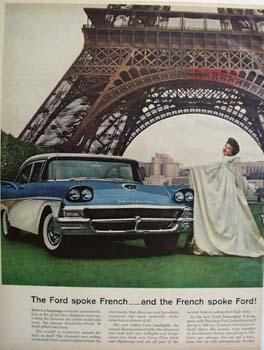 Ford On the Champs De Mars Paris Ad 1957