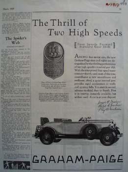 Graham Paige Thrill Of Two Speeds Ad 1929