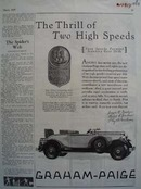 Graham Paige Thrill Of Two Speeds Ad 1929