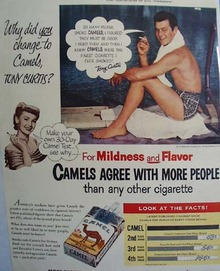 Camels And Tony Curtis Ad 1953