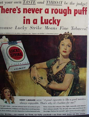 Lucky Strike And Hedy Lamarr Ad 1950