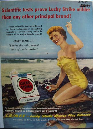Lucky Strike And Janet Blair Ad 1950