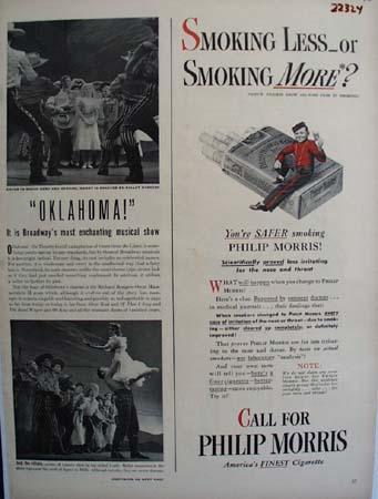 Philip Morris Smoking Less Or More Ad 1943