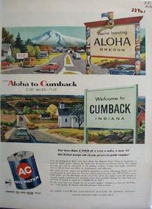 A C Oil Filter Leaving Aloha Oregon Ad 1958