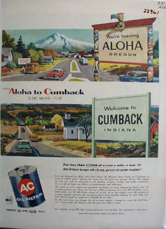 A C Oil Filter Leaving Aloha Oregon Ad 1958