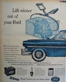 Ford Auto Parts Lift Winter Out of Ford Ad 1954
