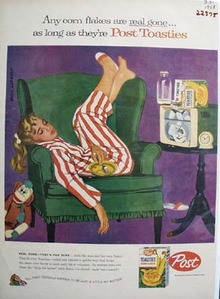 Post Toasties By Asleep On Green Chair Ad 1958