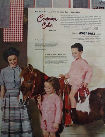 Avondale Fabrics Boy On Pony Ad 1952