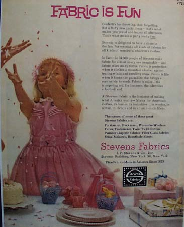 Stevens Fabrics Fabric Is Fun Ad 1961