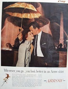 Arrow Shirts Man And Woman With Umbrella Ad 1959