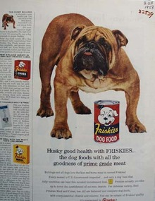 Friskies And Bulldog Ad 1958