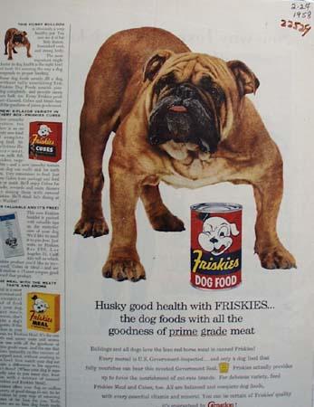 Friskies And Bulldog Ad 1958
