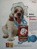 Friskies And Puppy Wearing Baby Bonnet Ad 1962