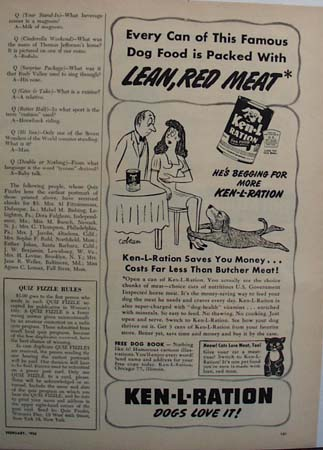 Ken L ration Dog Begging Ad 1950