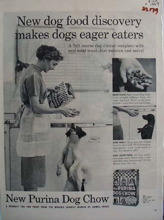 Purina Woman Feeding Dog Ad 1959