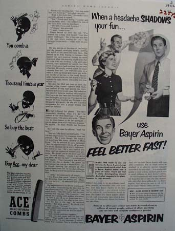 Bayer Aspirin Headaches Shadow Fun Ad 1952