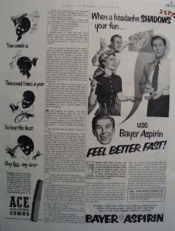 Bayer Aspirin Headaches Shadow Fun Ad 1952