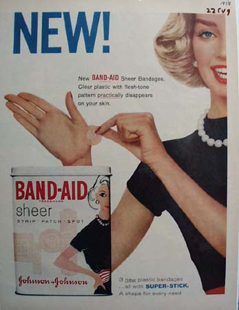 Band Aid Lady With Band Aid On Hand Ad 1958
