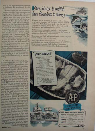 A and P Seafood Department Ad 1950