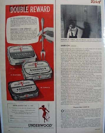 Underwood Sardines Double Reward Ad 1958