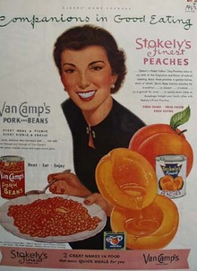 Van Camps Peaches And Pork And Beans Ad 1952