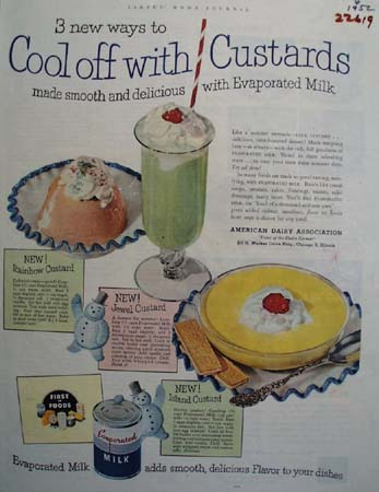 Evaporated Milk Cook Off With Custards Ad 1952