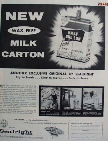 Sealright Milk Carton Ad 1957