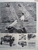 Toro Lawn Mower Man Mowing Lawn Ad 1959