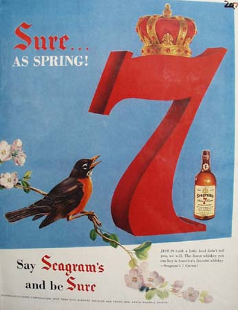 Seagrams Sure As Spring Ad 1954
