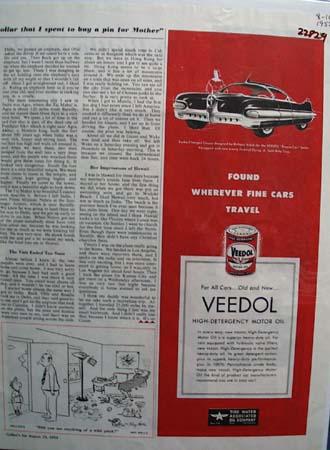 Veedol Motor Oil Richard Arbib Car Ad 1952