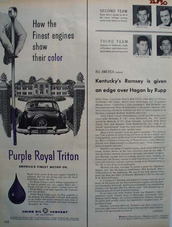 Union Oil Finest Engines Show Their Color Ad 1954
